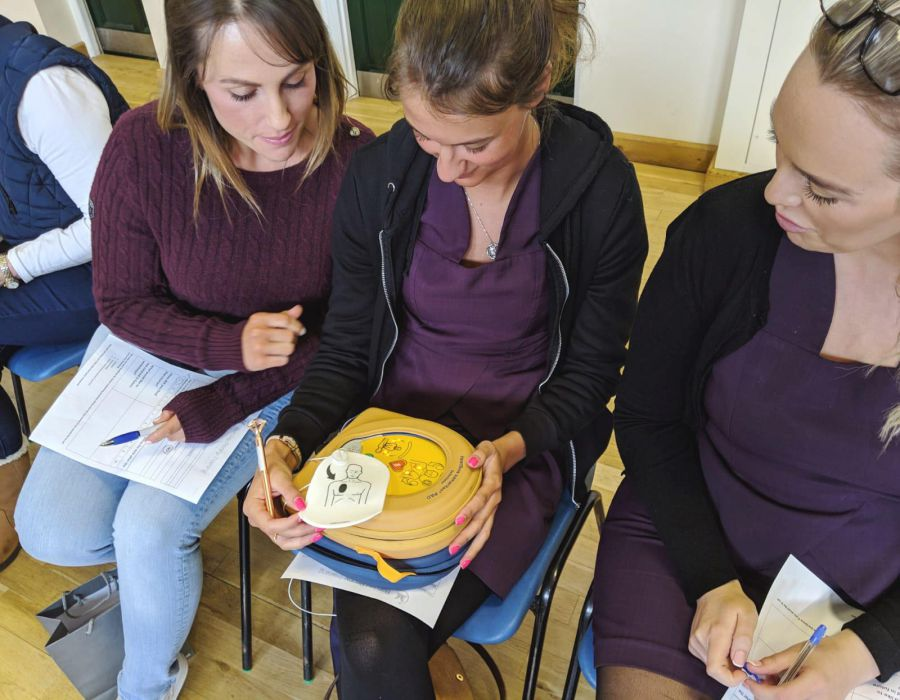women studying first aid equipment