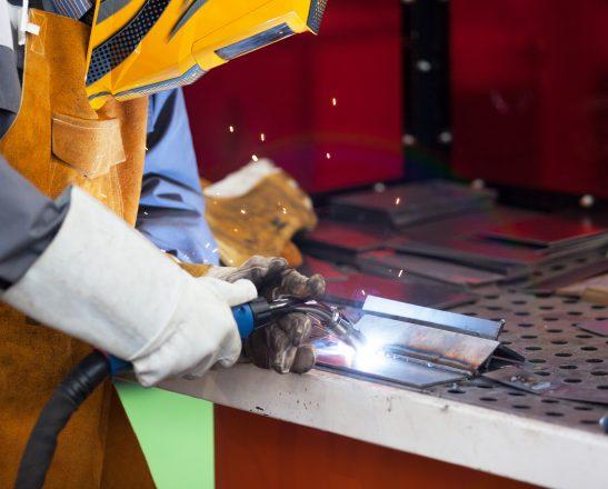 worker welding action shot