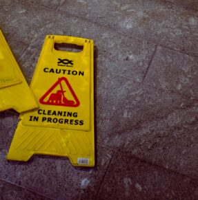caution signs on ground